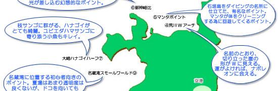 オーシャンダイバーズ石垣島ダイビングポイントマップ中部